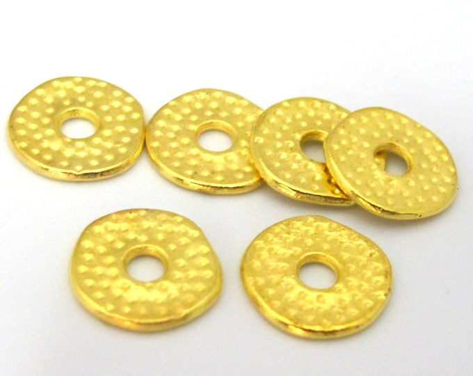 10 Beads - Gold tone plated donut disc beads 12 mm - BD881