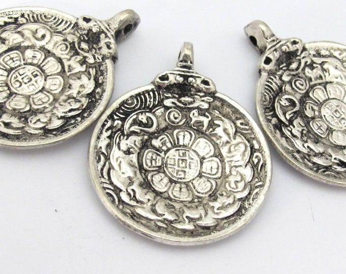 3 Pendants set -  Tibetan Om calendar timeline wheel pendant with antiqued silver finish - CP113s custom design copyright Nepalbeadshop