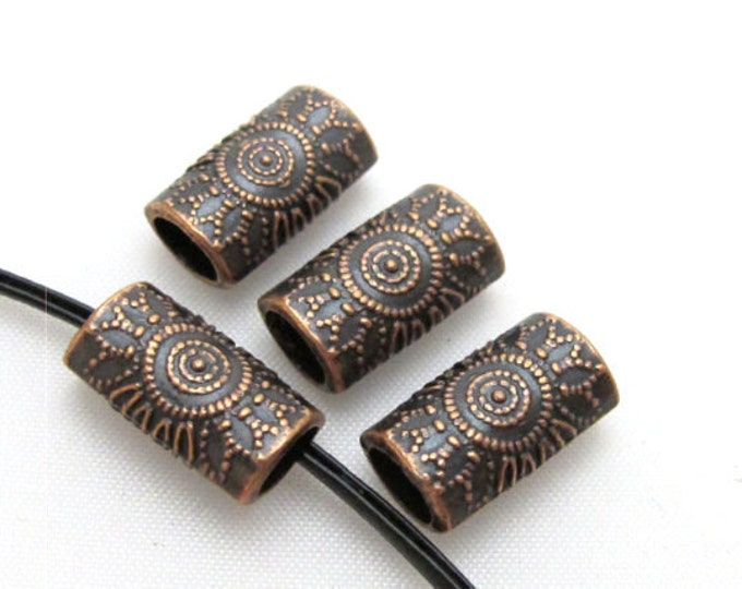 4 Beads-Copper tone sun floral design large hole convex cylinder shape metal beads  -  BD410