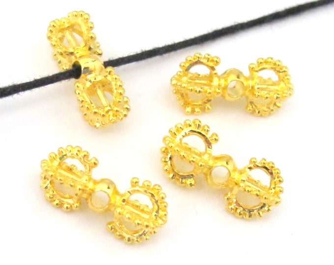 10 BEADS - Beautiful Tibetan gold plated dorje vajra beads mala spacer  - BD581