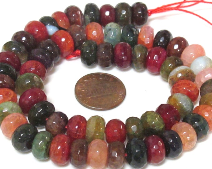 1 Full Strand  - Faceted abacus fire agate veins colorful gemstone beads 15 inches strand - 10mm  - GM449