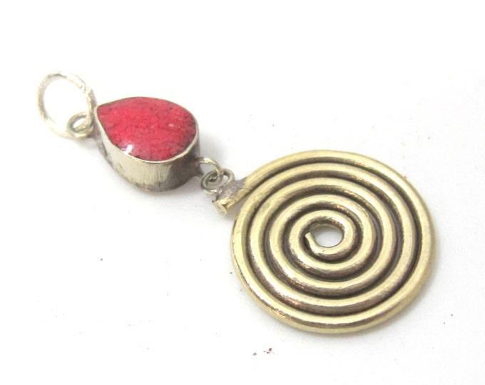1 charm  - Tibetan silver spiral teardrop design dangle charm pendant with coral  inlay  - PM521B