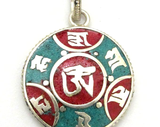 Tibetan pendant -Small size Tibetan silver six syllable OM mantra pendant  with turquoise coral inlay - PM275
