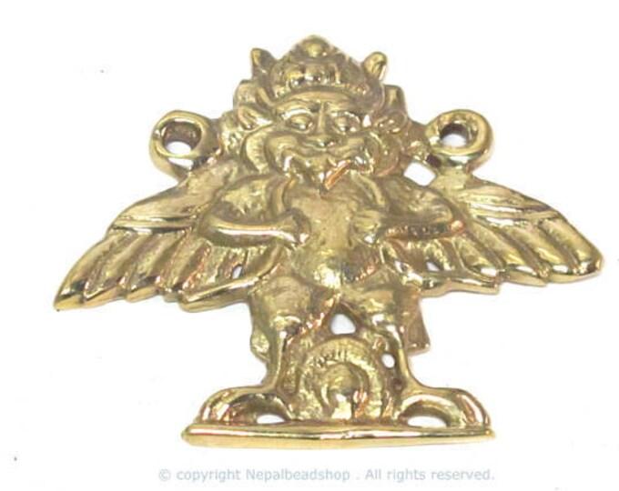 Ethnic Nepal Bird King Garuda Eagle Brass Pendant with double bail hole on sides - CP046B custom design copyright Nepalbeadshop
