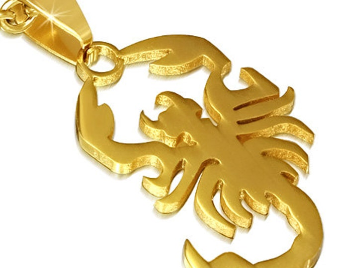 1 Pendant - 316L Stainless Steel gold tone plated scorpio zodiac sign pendant - ST004A