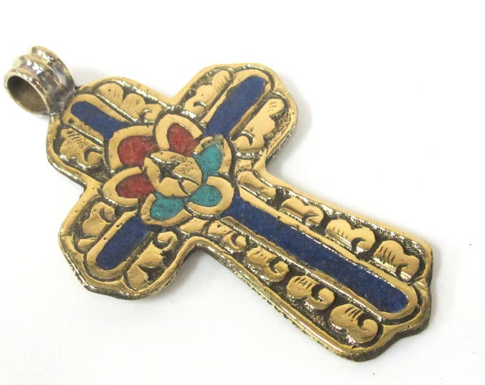 1 Pendant - Large Tibetan solid Brass cross pendant with lotus floral carving lapis turquoise coral  inlay - PM565A Copyright Nepalbeadshop