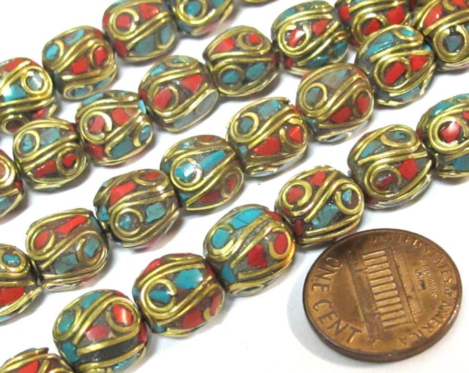 10 Beads - Ethnic Nepal beads Tibetan beads with Brass  turquoise coral inlay spherical shape - BD356Ax