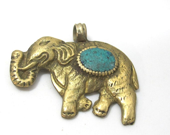 1 Pendant - elephant pendants -Tibetan brass elephant pendant antiqued finish with turquoise inlay and reverse lotus flower carving - PM526A