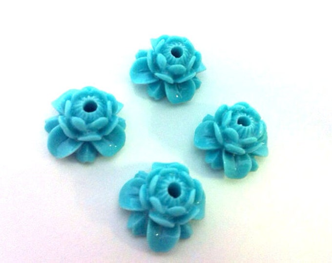 Blue lotus flower resin beads - 2 beads - BD446B