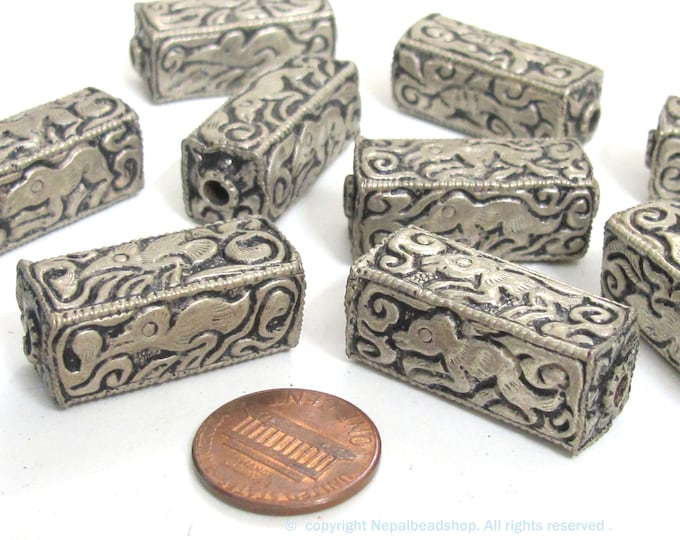 8 Beads - wholesale lot Tibetan beads nepal beads  antiqued silver color finish animal bird floral mix rectangle cube shape beads - BD957Kz