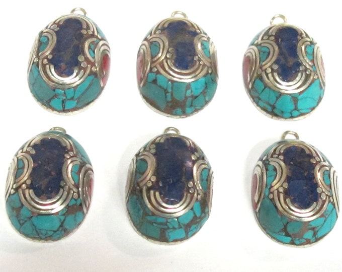 2 charms  - Beautiful Oval dome shape Tibetan silver finish charm pendant with mosaic turquoise coral  lapis inlay - PM617B