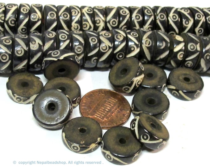 10 beads - 13 - 14 mm size black brown color flat disc bone beads  with tribal dotted design  - ML019ZB