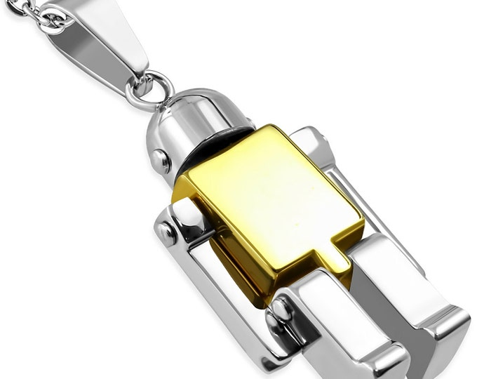 1 Pendant -  Gold tone plated 2 tone Stainless Steel Robot pendant - ST004G