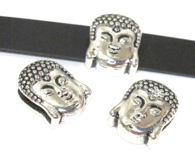 2 Beads- Buddha beads buddha charms Antiqued silver tone large hole slider Tibetan Buddha bead  - BD110B