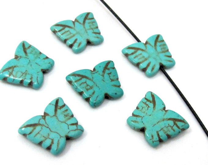 4 Beads- Blue turquoise color Howlite carved butterfly charm beads - GM401