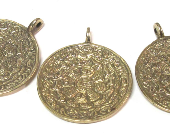 3 Pendants - Medium Large size Tibetan ethnic timeline wheel calendar melong solid Brass pendant  50 mm height x 43 mm wide - CP124s