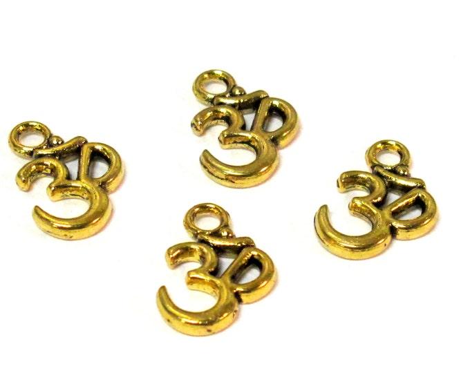 4 Beads-Antiqued golden color yoga meditation om metal charms beads  - BD118