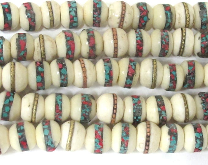 10 Tibetan inlaid bone beads - 10 mm Tibetan ivory white color bone beads with turquoise brass copper turquoise coral inlay Nepal  - ML096C