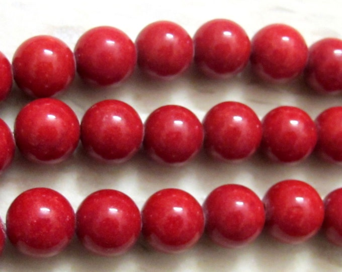 Red Tibetan sponge coral beads - round oval shape - 2 beads - BD317A