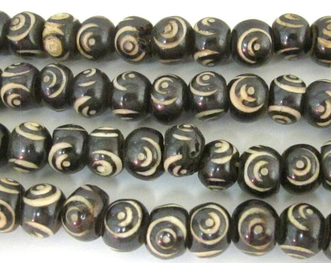 20 beads - 10 mm Black Brown color Tibetan eye prayer mala bone beads  - HB057