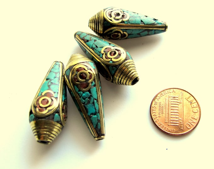 1 bead - Beautiful Ethnic Nepal Bead teardrop shape Tibetan brass beads turquoise coral inlaid drop beads from Nepal  - BD248