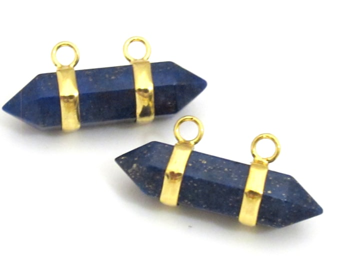 1 Pendant - Lapis Lazuli hexagon point pendant with golden bail - PM327A