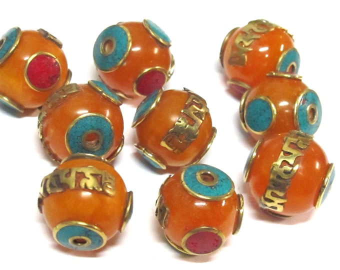 1 Bead - Tibetan copal resin Om mantra bead with brass , turquoise and coral inlay  - BD695Bx