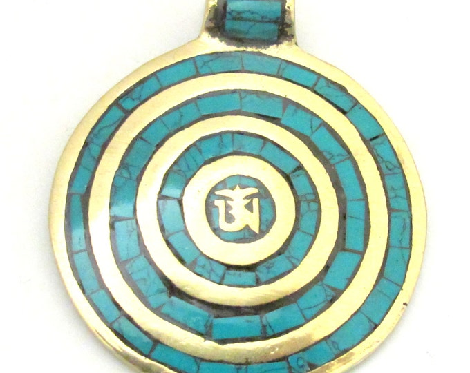 Large Round shape Tibetan Om spiral circles brass pendant with turquoise inlay - PM273A