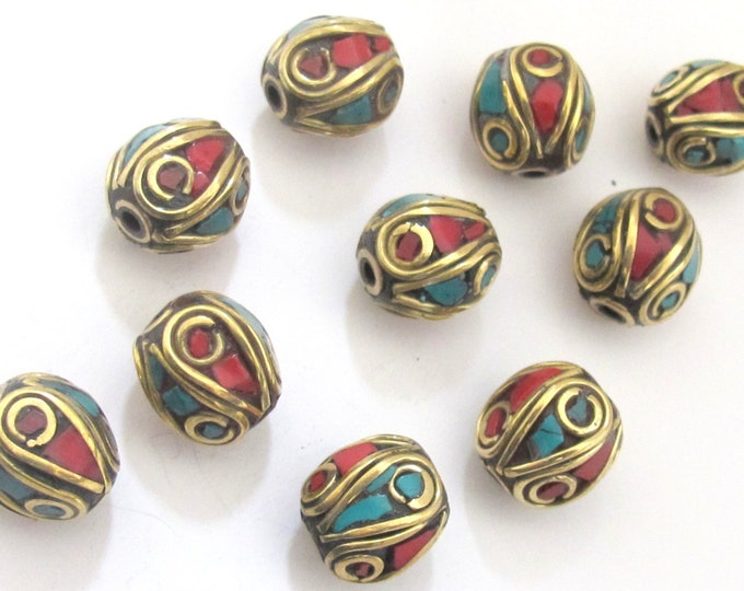 10 BEADS - Tibetan oval shape brass beads with turquoise and coral inlay  - BD499