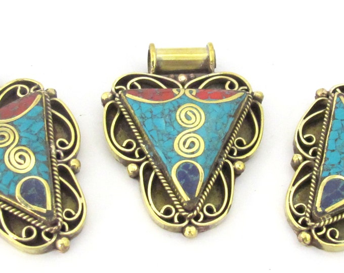 1 Pendant - Ethnic Nepalese Triangle shape double spiral brass pendant with turquoise lapis coral inlay - PM434C