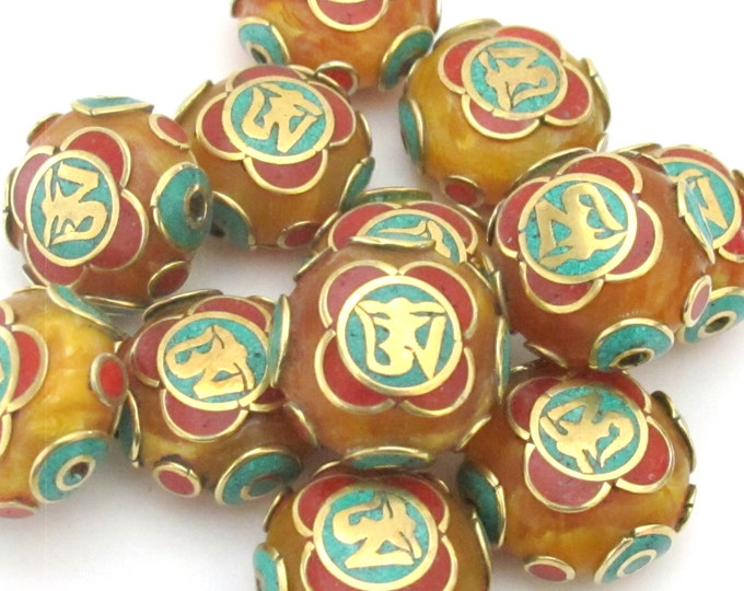 1 BEAD - Tibetan copal resin Om bead with brass , turquoise and coral inlay -BD490B