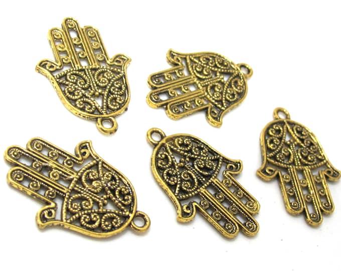 6 Hamsa Hand charms antiqued golden color finish 30 mm x 21 mm - CM195