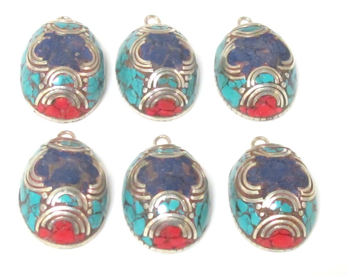 2 charms  - Beautiful Oval dome shape Tibetan silver finish charm pendant with mosaic turquoise coral  lapis inlay - PM617A