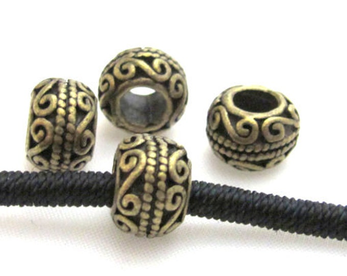 4 Beads- Brass finish donut drum shape metal beads - BD412