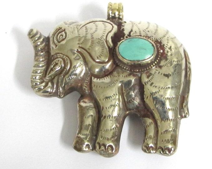 Large big bold size reversible elephant pendant Ethnic Tibetan silver finish Large Size  Elephant pendant with turquoise inlay - PM354D
