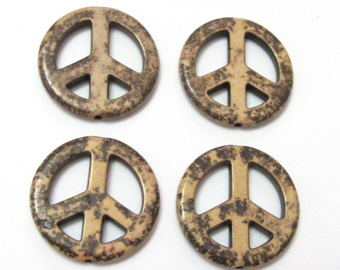 4 Beads - Peace sign pendant beads 25 mm - GM192