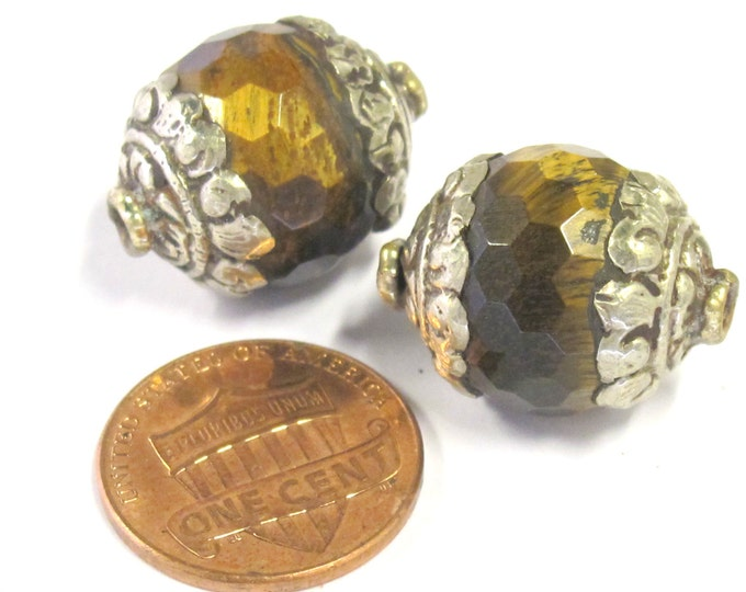 2 BEADS - Tibetan silver capped faceted Tigers eye gemstone bead 16 mm x 20 mm  - BD0821s
