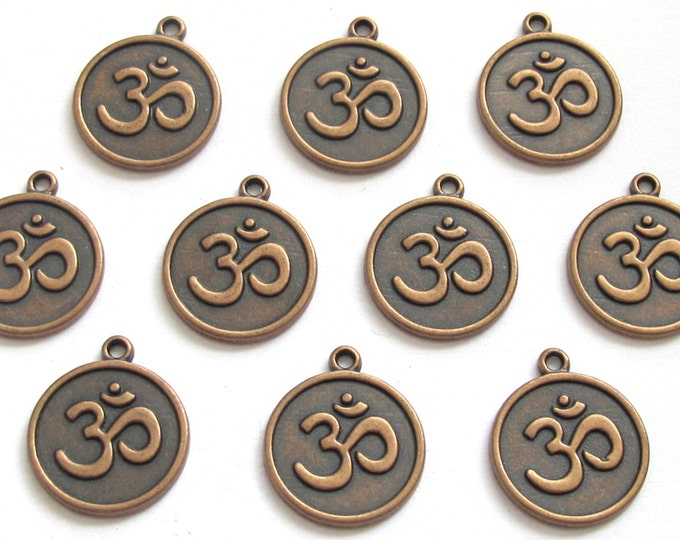 8 pieces - Rustic copper tone yoga meditation om metal disc charms beads  - BD588