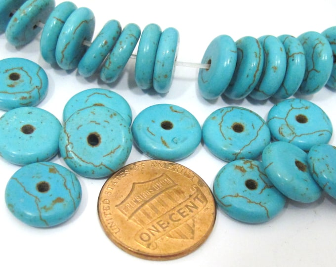 10 Beads - Blue color howlite rondelle flat disc beads 12 mm size - GM381