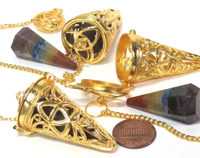 1 pendant - Tibetan gold color plated cage pendulum pendant with pyramid cone shape hex cut chakra stone- PM556