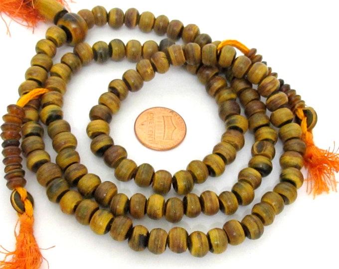 108 mala BEADS - Tibetan 108 horn bone mala beads with guru bead and counters mala - horn beads - ML129A