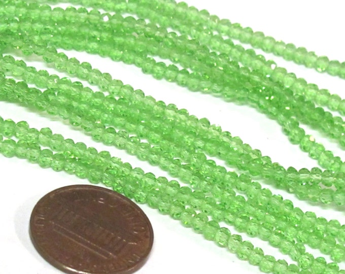 1 strand 15 inches long - Sparkly nice shine 3 mm size Faceted rondelle shape green color crystal glass beads - AB062