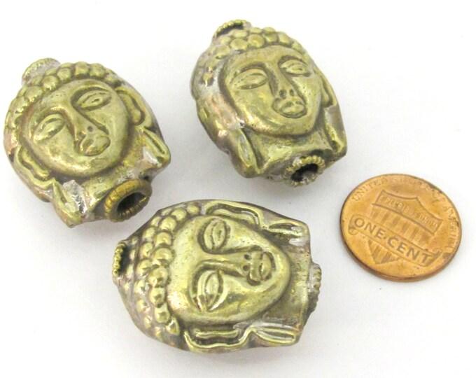 1 Bead - Reversible Light weight antiqued silvery brass tone Tibetan Buddha bead from Nepal- BD851