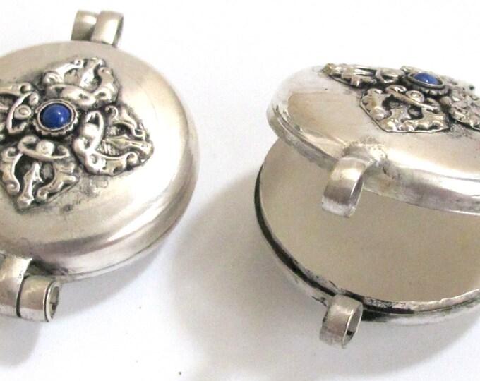 Extra Large Size Tibetan Ghau prayer box  double vajra  kalachakra  reversible pendant deep blue -PM121B