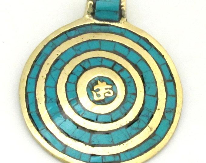 Tibetan Nepal Om mantra brass pendant with circles pattern turquoise inlaid  - PM273B