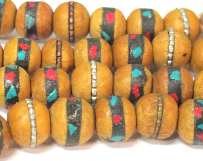55 beads - 9 -10 mm Tibetan wood mala beads with turquoise brass coral inlay   - mala making supply - ML091C