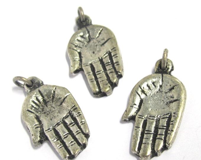 4 Pieces -  Small Petite size Tibetan silver Buddha hand charm Pendants from Nepal tibetan pendants - CP099