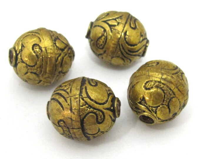 2 BEADS- Tibetan floral carving antiqued golden brass beads from Nepal - BD904