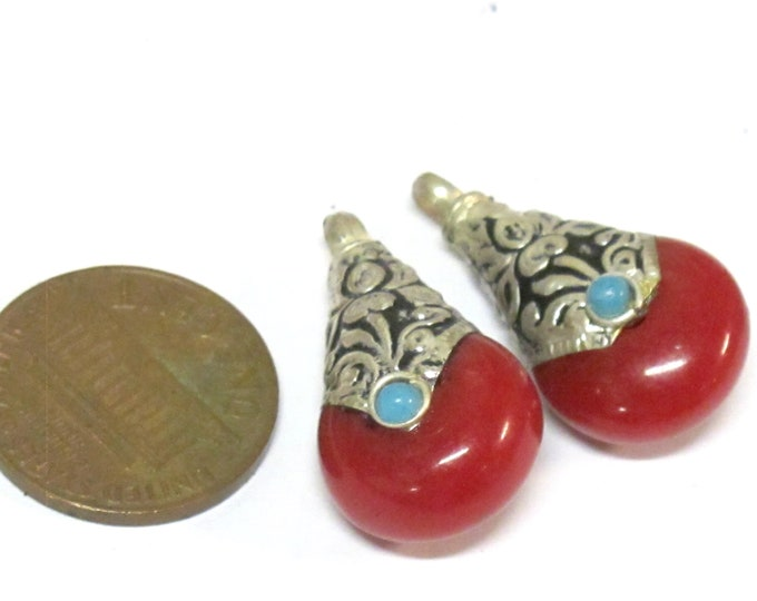 2 charms- Tibetan small petite size teardrop shape red copal resin light weight charms pendant with flower design on bail  - PM607Ds