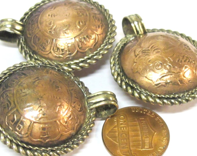 1 Pendant - Ethnic  coin design embossed copper finish pendant - CP009C